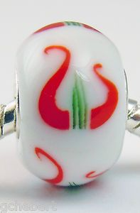 Alpha Chi Omega Lyre Lampwork Glass Silver Core Large Hole Euro Bead
