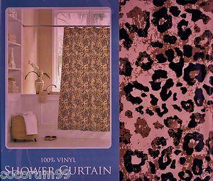 LEOPARD CHEETAH Vinyl Shower CURTAIN Leopards Cheetahs Jungle Safari