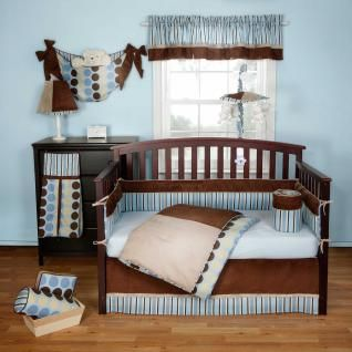3pc Chocolate Brown Beige Blue Striped Polka Dot Baby Boy Nursery Crib