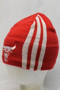 chicago bulls adidas knitted beani stocking hat cap basic red white