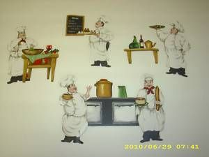 Fat Chef Kitchen Wallies Wallpaper Border Cut Outs