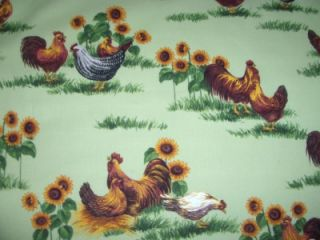 Country Chickens Roosters Sunflowers Green Cotton Quilt Fabric BTY