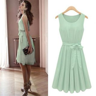 Womens Fashion Chiffon Pleated Mint Green Sleeveless Dress