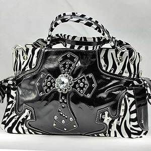 New Western Shiny Black Zebra Rhinestone Purse Handbag w Cross Cowboy