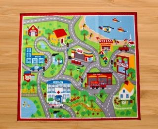 Childrens Road Map Floor Rug Kids Play Mat City Road Car Track