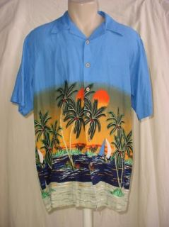 Cherokee Waikiki Wear Mens Casual Button Front Shirt Hawaiian Size M