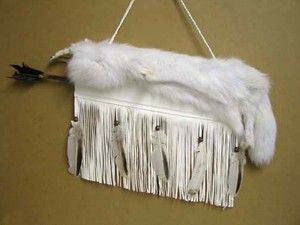 Cherokee Indian Leather Arctic Fox Fur Quiver Arrow Set