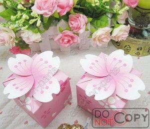 100pcs Cherry Blossom Wedding Box Flower Favor Box Favour Wedding Box