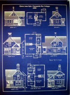 Chesapeake Bay Cottages 1890 blue Blueprint Plans 19 x 24