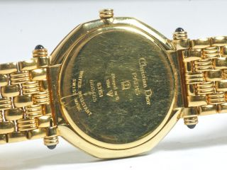 Authentic Christian D Mens Diamond Gold Tone Watch Good Condition