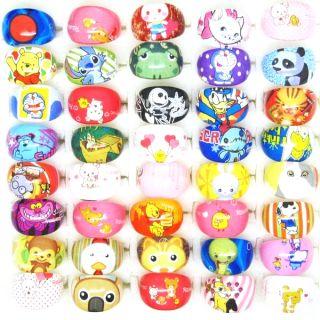 25pcs Cute Cartoon Characters Lucite Resin Children Rings C18
