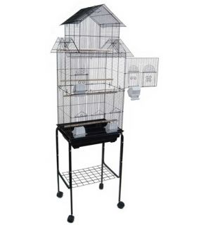 Large Pagoda Bird Cage Lovebird Parakeet Cockatiel Canary with Stand