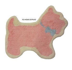 Scottie Dog Kids Childrens Girls Teenagers Pink Rug Mat 60 x 70cm