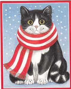 Caspari Christmas Greeting Cards Cat with Scarf 82004