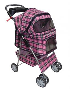 New Stable Pink Plaid Pet Dog Cat Stroller w Rain Cover