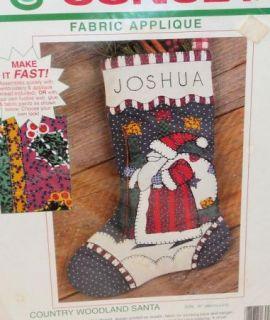 Vtg Sunset Fabric Applique Christmas Stocking Kit Santa