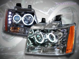 Chevy Tahoe Suburban Avalanche 07 10 Projector Headlights Chrome Amber