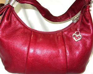Authentic BRIGHTON Designer RICH RED LEATHER Shoulder Handbag Hobo