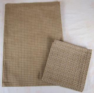 Country Brown Chocolate Tan Plaid Grandmas Quilt Dish Towel Cloth Set