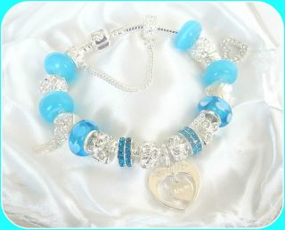 Charm Bracelet Blue Silver Personalise Friends Forever Niece Gift