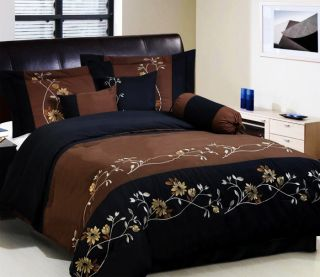 Chocolate Brown Black Bedding Floral DS Comforter Set Queen King Cal K