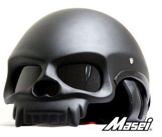 MASEI 419 MATT BLACK SKULL MOTORCYCLE ICON HJC CHOPPER HELMET