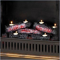 Enterprises Resin Ember Tea Light Log Set Fireplace Candelabras