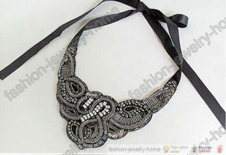 Fashion Handmade Ribbon crystal Chokers Necklace