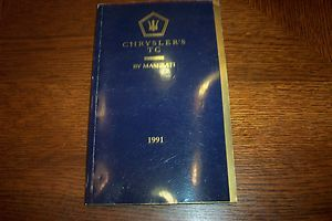 Original VINTAGE1991 Chrysler TC Maserati Owners Manual