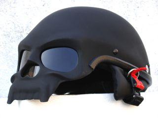 Masei 419 Matt Black Skull Motorcycle Icon Chopper Helmet