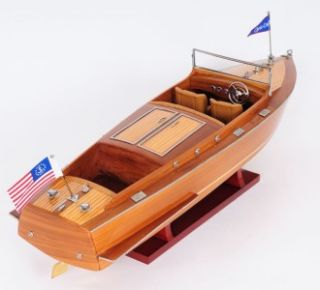 chris craft runabout varnished speed boat model hand made not from any