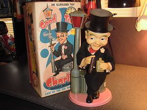 1960s Vintage Working Good Time Charlie Smoking Tin Battery Operated