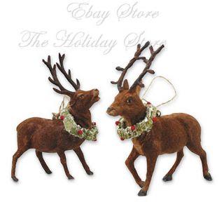 Bethany Lowe Pair Flocked Reindeer Christmas Ornaments