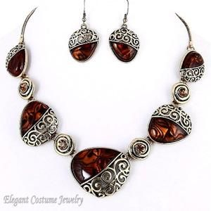 Brown Swirl Antique Gold Chunky Necklace Set Elegant Costume Jewelry