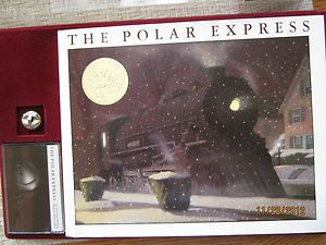 THE POLAR EXPRESS GIFT SET 1989 CHRIS VAN ALLSBURG BOOK BELL TAPE