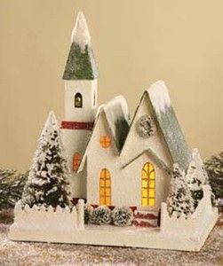 Bethany Lowe Christmas Large Church traditional design snow glitter