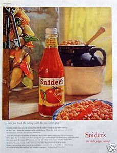 1959 Sniders Chili Pepper Catsup Ketchup Tomato Sauce Barbecue Beans