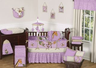 Purple cheetah Print jungle Animal Safari Theme baby Bedding crib