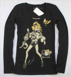 Ladies Moschino 18093 Sexy Fashion Girl T Shirt Black Size s XL