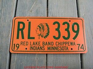 1974 74 Minnesota Minn MI Red Lake Band CHIPPEWA Indian License Plate