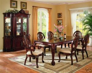 CHERRY DINING TABLE CHAIRS & CHINA CABINET DINING ROOM FURNITURE SET