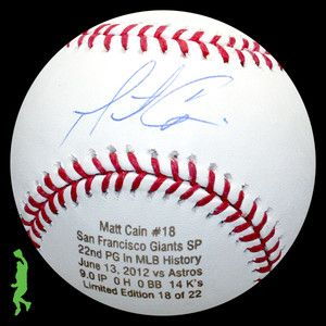 MATT CAIN SIGNED AUTO 22ND PERFECT GAME STAT BASEBALL BALL GIANTS MLB
