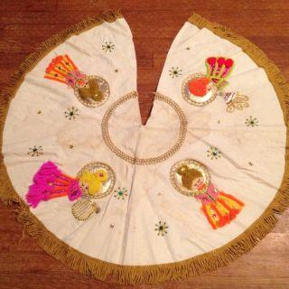Vintage Felt Angel Christmas Tree Skirt