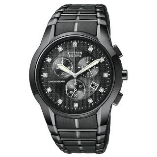 Citizen Chronograph Black Mens Wrist Watches AT2055 52g