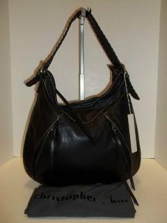 Christopher Kon Black Leather Hobo Handbag
