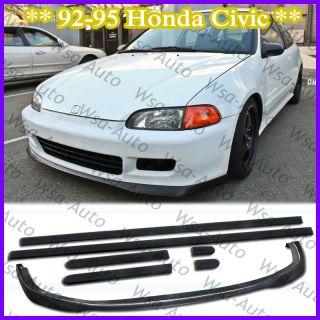 92 95 Civic SiR Front Bumper Lip Kit Spoiler + Thin Side Molding Honda
