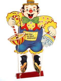 Vintage Large Gibson Mechanical Birthday Card Marionette Clown Die Cut
