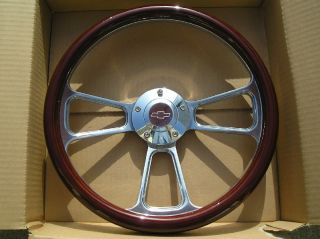 Wood Billet Steering Wheel w Chevy Logo Billet Horn Button