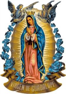 Virgen de Guadalupe w Angels Christian T Shirt Tee Hoodie Long Sleeve