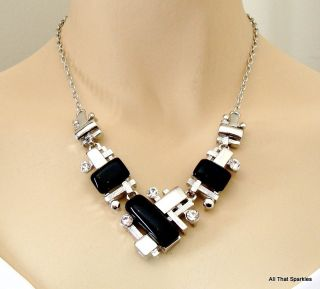 New Big Bold Chunky Abstract Crystal Fashion Necklace